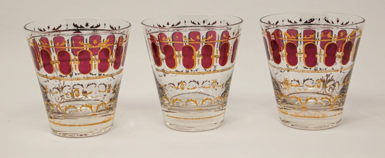 American Vintage Set of Six Culver Glasses with 22-Karat Gold and Red Moorish Design For Sale
