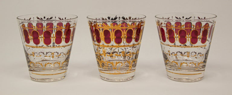 Vintage Set of Six Culver Glasses with 22-Karat Gold and Red Moorish Design In Fair Condition For Sale In North Hollywood, CA