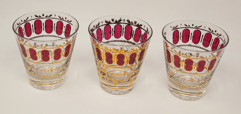 20th Century Vintage Set of Six Culver Glasses with 22-Karat Gold and Red Moorish Design For Sale