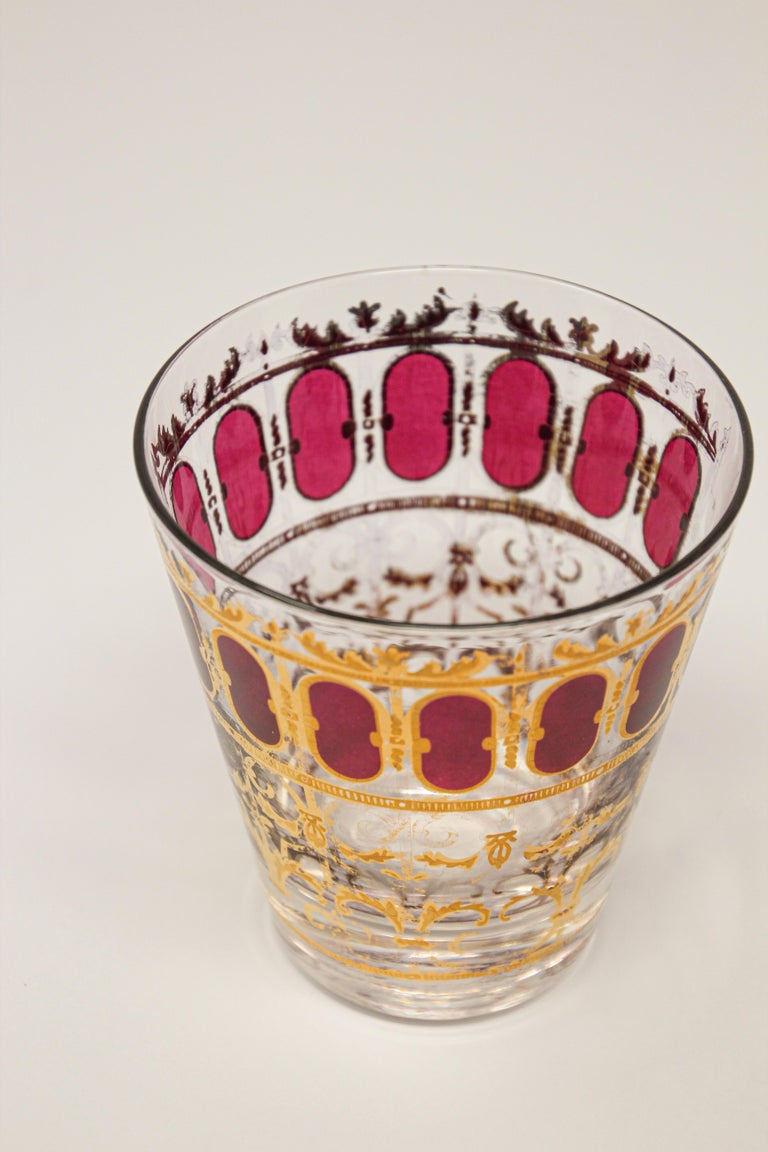 Vintage Set of Six Culver Glasses with 22-Karat Gold and Red Moorish Design For Sale 2