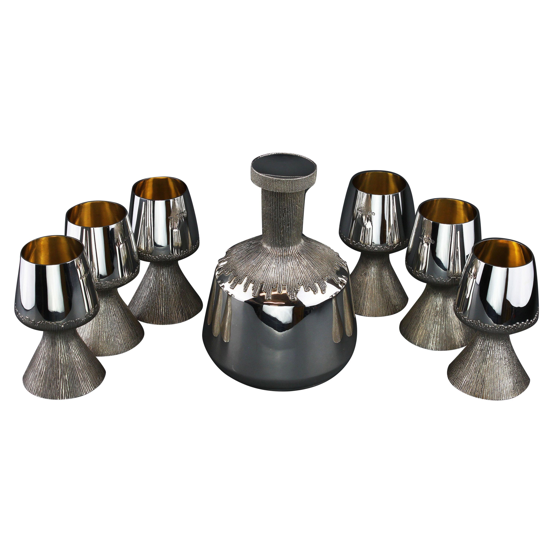 Vintage Set of Sterling Silver Decanter and 6 Goblets, Asprey & Co. & GGM