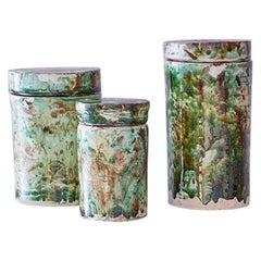 Vintage Set of Three Ceramic Cylinder Jars with Green Glaze, Italy, 1960s