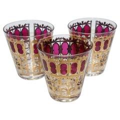 Vintage Set of Three Culver Glasses with 22-Karat Gold and Red Moorish Design