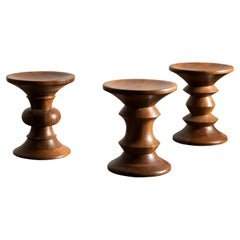 Vintage Set of Three Eames Time Life Stools in Walnut