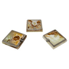 Vintage Set of Three Onyx Ashtrays with Metal Accent, 1960, Made in Italy