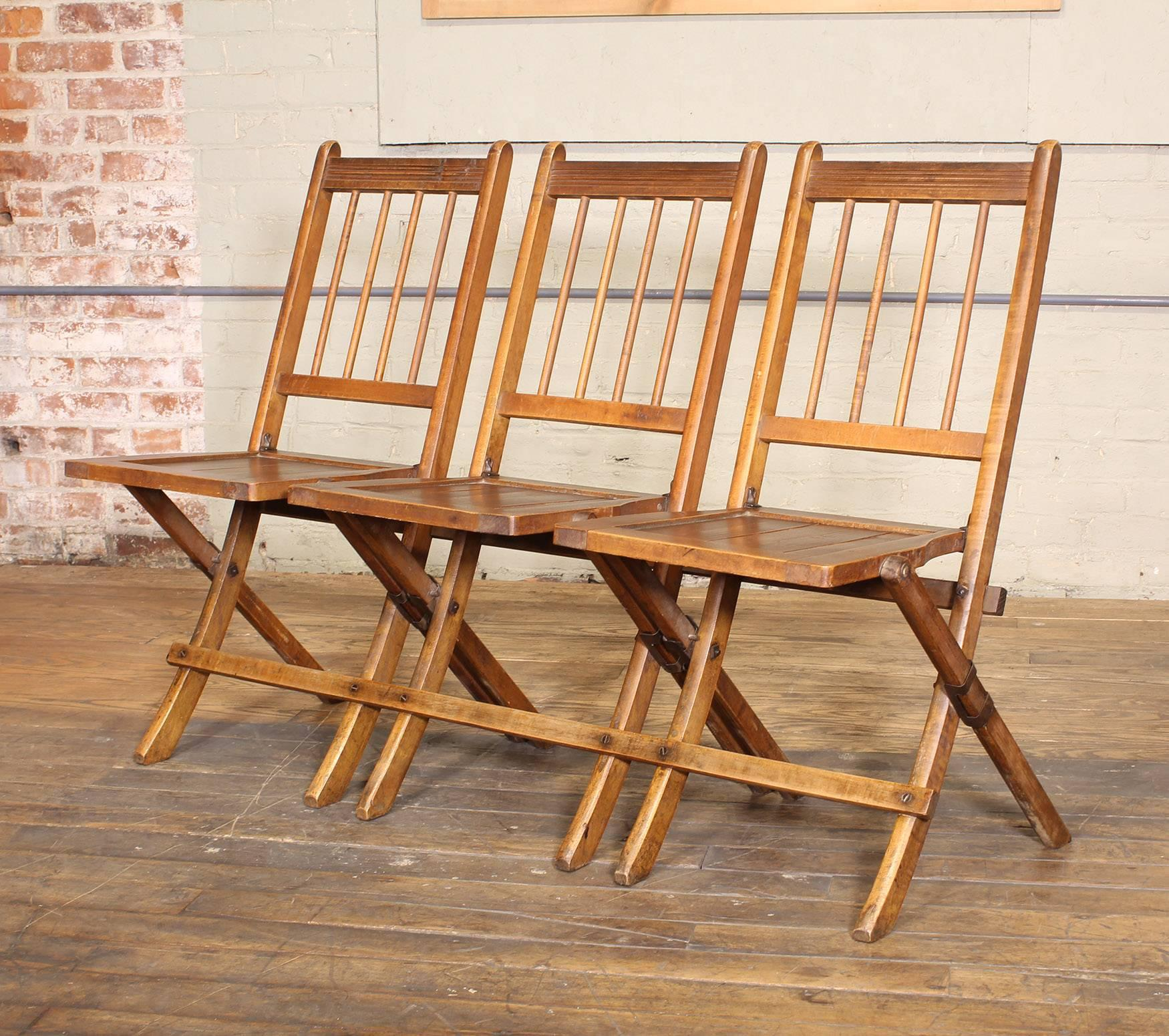 Vintage Set Of Three Tandem Stadium Folding Chairs, Seats, Bench For Sale 3