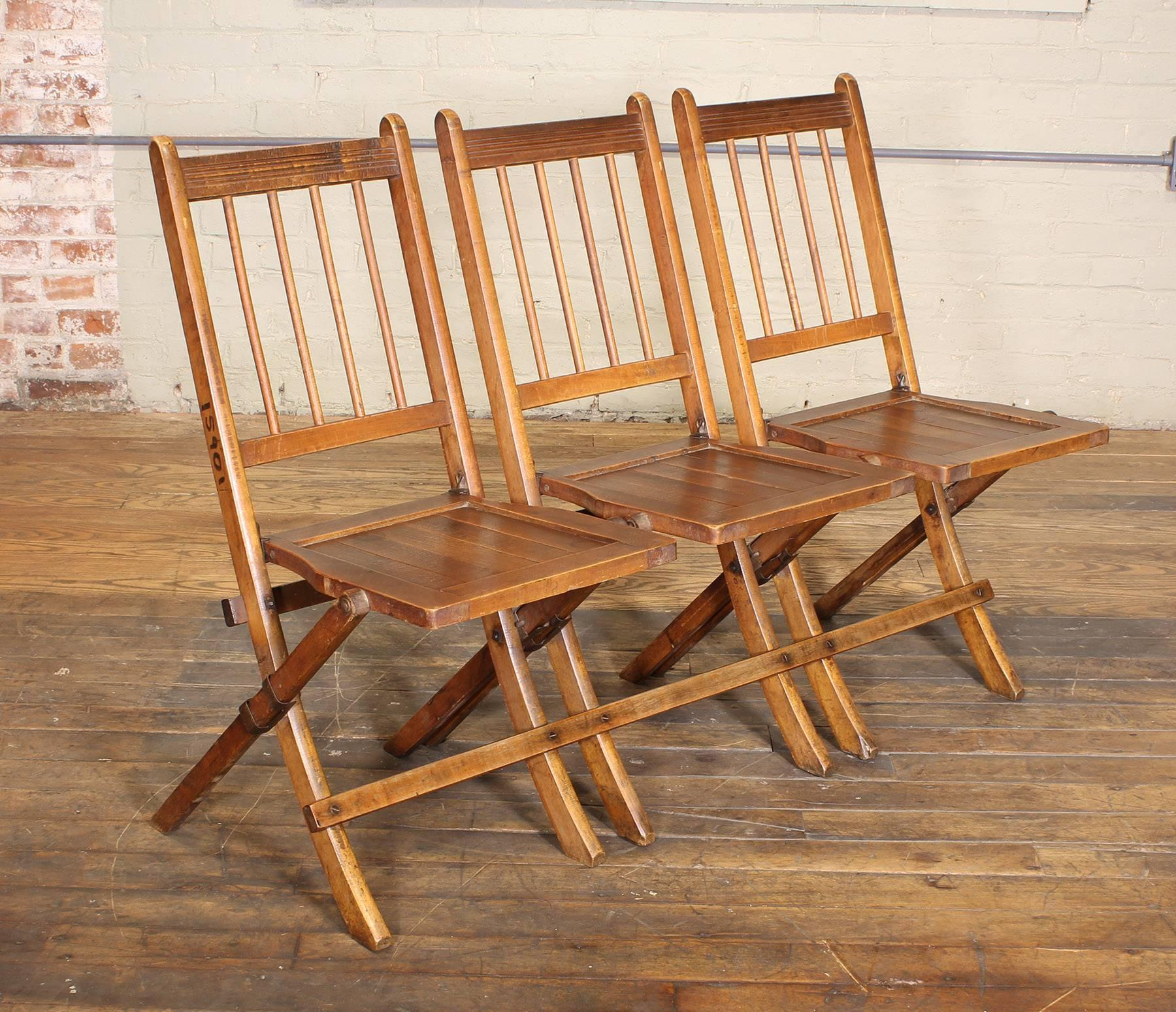 Vintage Set Of Three Tandem Stadium Folding Chairs Seats Bench