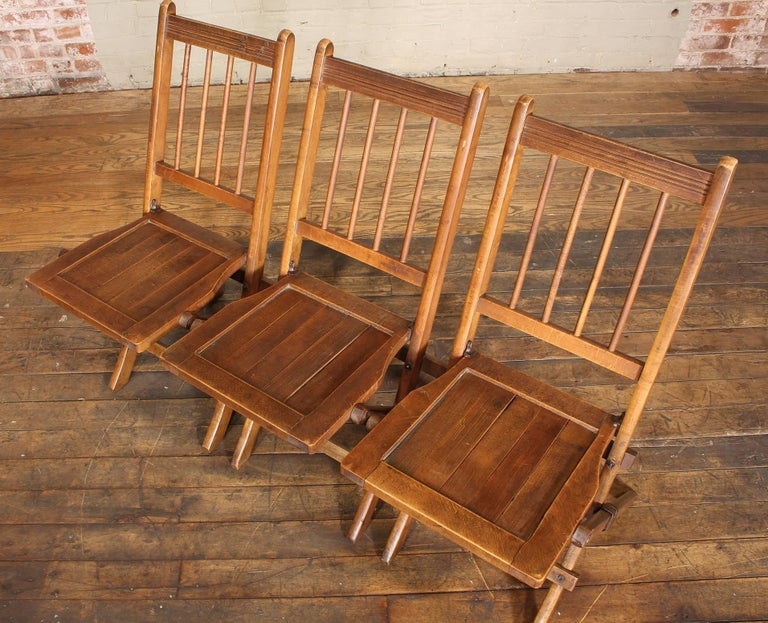 American Classical Vintage Set of Three Tandem Stadium Folding Chairs, Seats, Bench For Sale