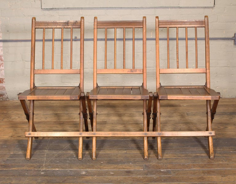 Vintage Set of Three Tandem Stadium Folding Chairs, Seats, Bench In Distressed Condition For Sale In Oakville, CT