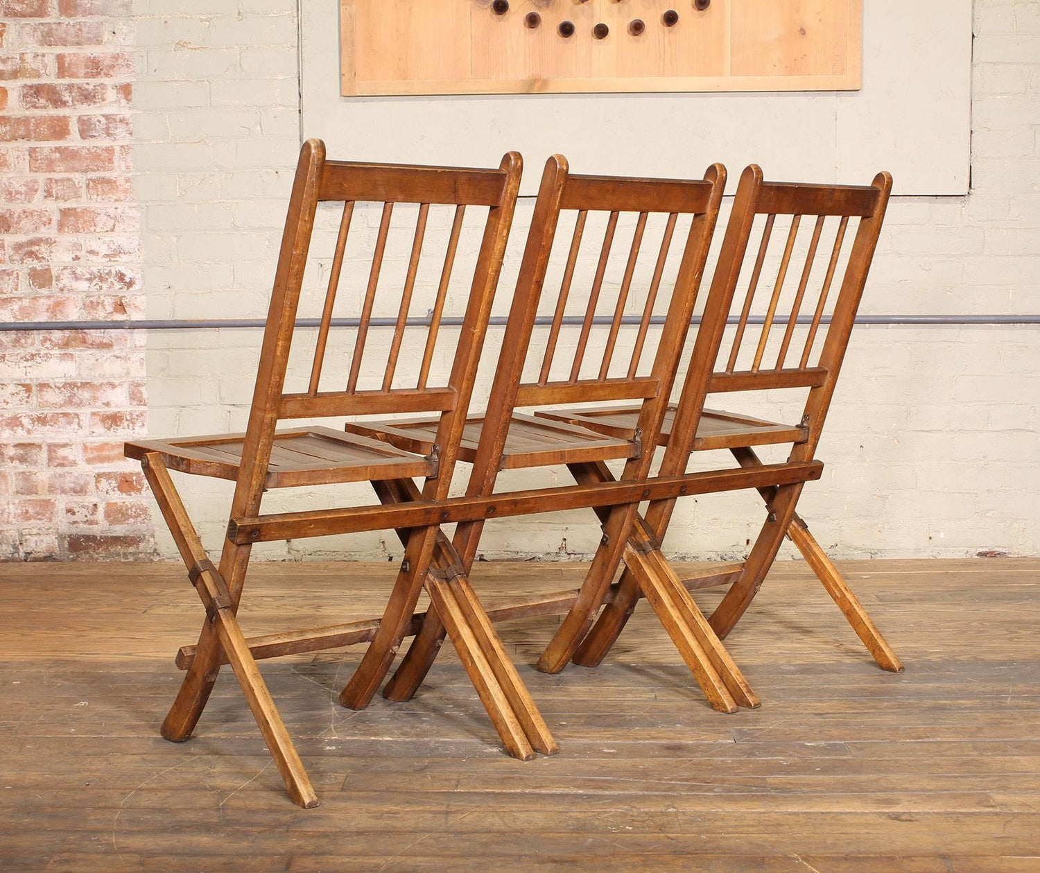 Vintage Set of Three Tandem Stadium Folding Chairs, Seats, Bench For ...