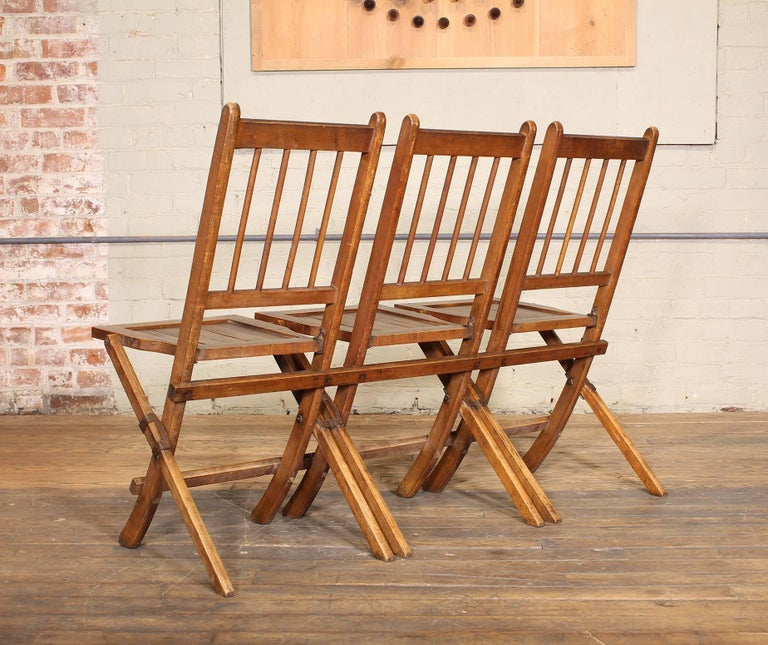 20th Century Vintage Set of Three Tandem Stadium Folding Chairs, Seats, Bench For Sale