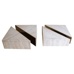Vintage Set of Travertine Coffee Tables from France, Circa 1960