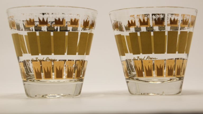 Vintage Set of Two Gold Glasses by Fred Press For Sale 5