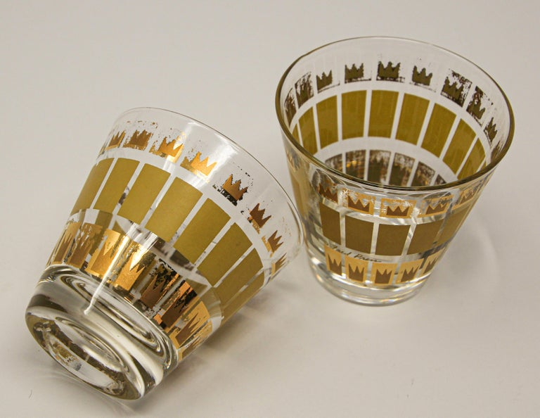 Vintage Set of Two Gold Glasses by Fred Press For Sale 6