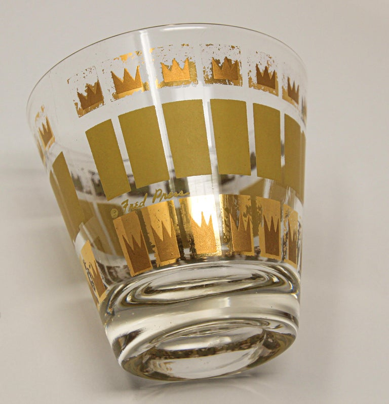 Mid-Century Modern Vintage Set of Two Gold Glasses by Fred Press For Sale