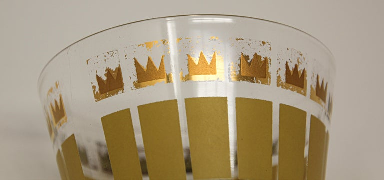 Vintage Set of Two Gold Glasses by Fred Press In Good Condition For Sale In North Hollywood, CA