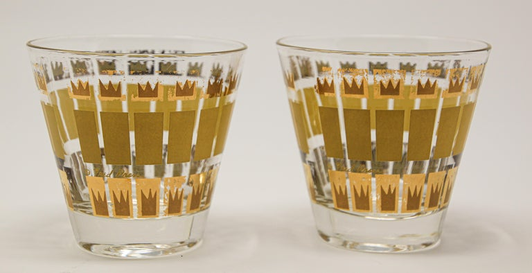 Vintage Set of Two Gold Glasses by Fred Press For Sale 2