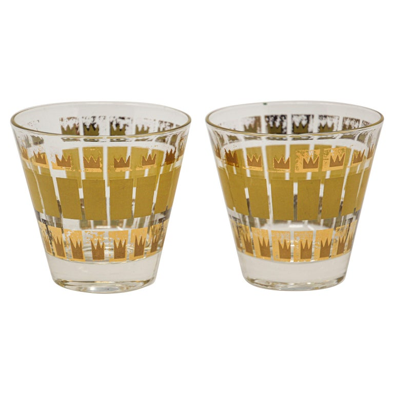 Vintage Set of Two Gold Glasses by Fred Press For Sale