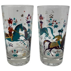 Vintage Set of Two Turquoise and Gold Arabian Nights Highball Cocktail Glasses