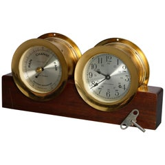 Vintage Seth Thomas Corsair E537-012 Maritime Ships Bell Clock and Barometer Set