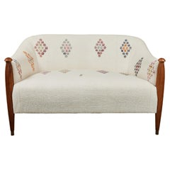 Vintage Settee Newly Upholstered in a Turkish Rug