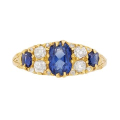 Vintage Seven-Stone Sapphire and Diamond Ring, circa 1930s