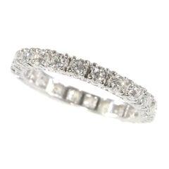 Vintage 1970s White Gold Fully 1.98 Carat Diamond Set Wedding Band
