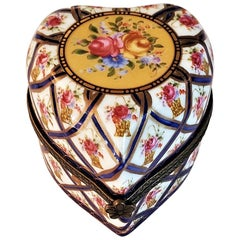 Vintage Sevres Style Heart Shaped Perfume Box