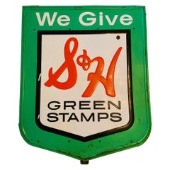 """Vintage """"S&H Green Stamps"""" Sign By Stout Sign Co."""