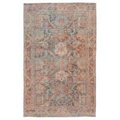 Vintage Shabby Chic Mahal Handmade Wool Rug