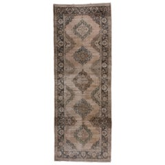 Vintage Shabby Chic Turkish Oushak Gallery Carpet, Earth Tones, Green Borders