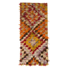 Vintage Shag Pile Mohair Tulu Rug, One of a Kind Colorful Runner