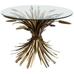 Vintage French Sheaf of Wheat Side Table Glass Top and Gilt Metal