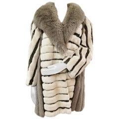 Vintage sheared beaver fur coat snakeskin shadow fox fur trim size 14