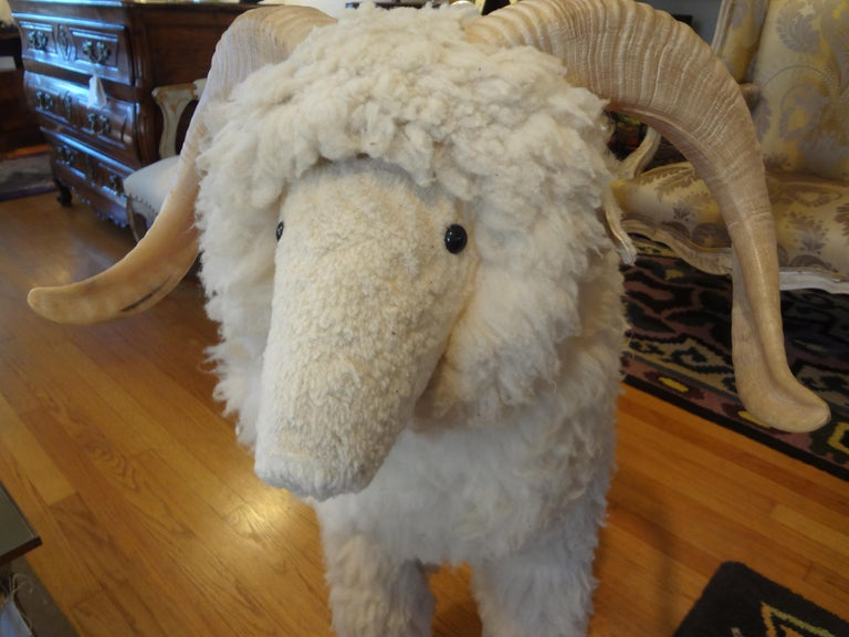 Vintage Shearling Sheep Sculpture or Bench For Sale 3