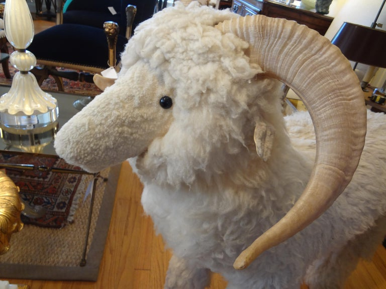 Vintage Shearling Sheep Sculpture or Bench For Sale 4