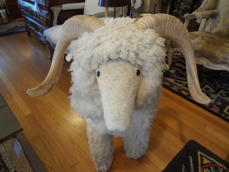 Hollywood Regency Vintage Shearling Sheep Sculpture or Bench For Sale