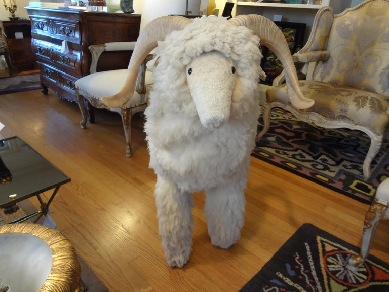 Unknown Vintage Shearling Sheep Sculpture or Bench For Sale
