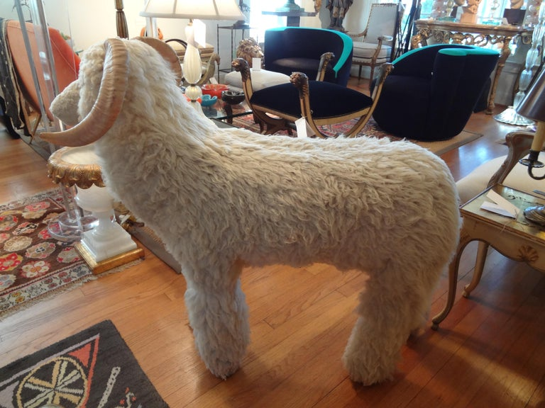Vintage Shearling Sheep Sculpture or Bench In Good Condition For Sale In Houston, TX