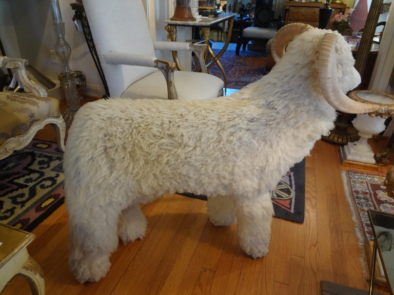 Wool Vintage Shearling Sheep Sculpture or Bench For Sale