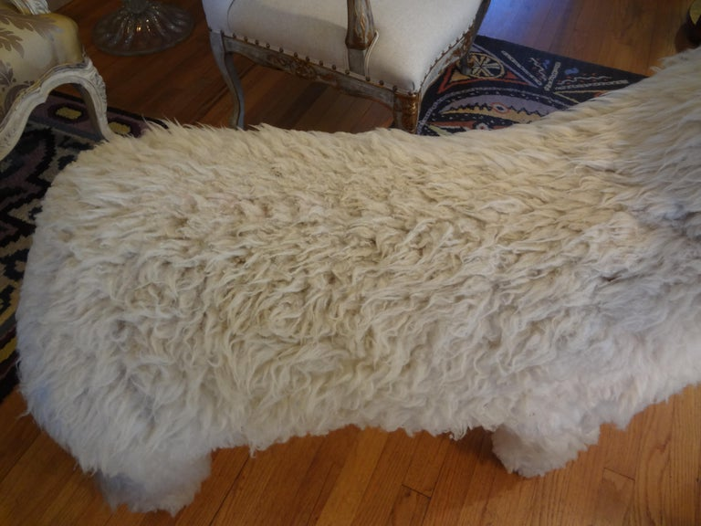 Vintage Shearling Sheep Sculpture or Bench For Sale 1
