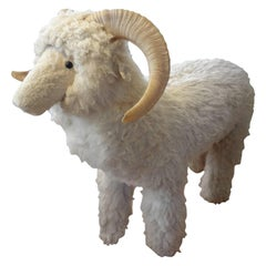 Vintage Shearling Sheep Sculpture or Bench