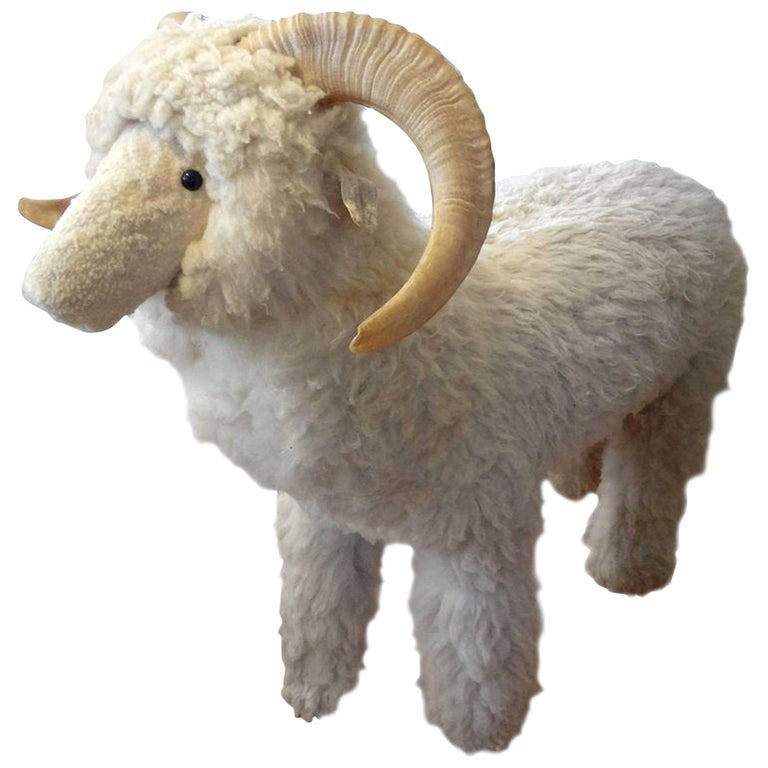 Vintage Shearling Sheep Sculpture or Bench For Sale