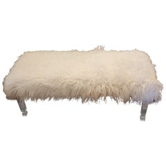 Vintage Sheepskin and Lucite Bench