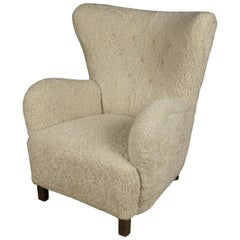 Vintage Sheepskin Cabinetmaker Chair from Denmark, 1940s