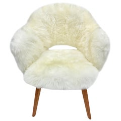 Vintage Sheepskin Eero Saarinen for Knoll Executive Chair with Wood Legs