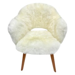Vintage Sheepskin Eero Saarinen for Knoll Executive Chair with Wood Legs