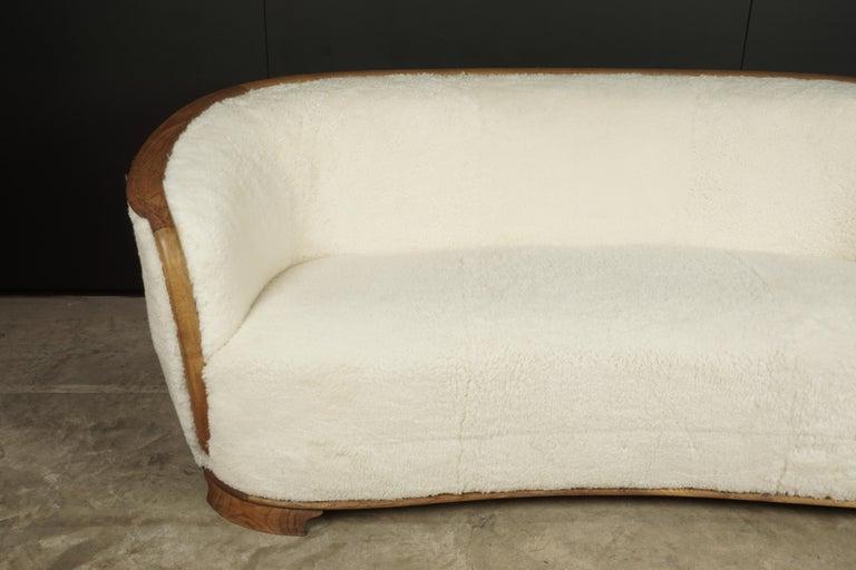 European Rare Vintage Cabinet Maker Sofa in Sheepskin, Denmark, 1950s For Sale