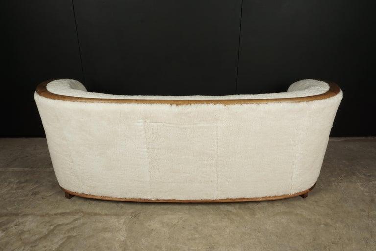 Rare Vintage Cabinet Maker Sofa in Sheepskin, Denmark, 1950s For Sale 2