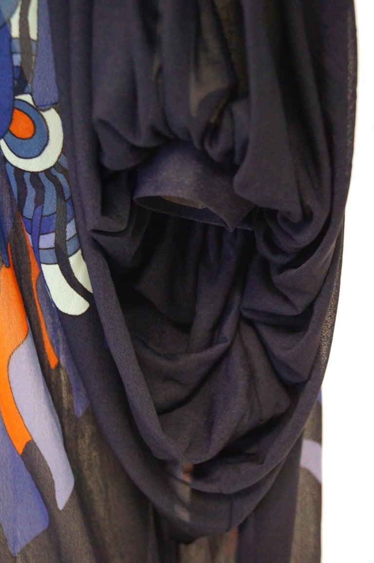 Vintage Sheer Black Batwing Caftan with Blue Op Art Floral Print For Sale 6